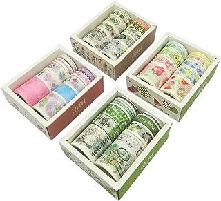 Washi Tape Set (4 Box, 40 Rolls) Kawaii Japanese Style Floral Sweet Fruit Food Vintage Stamp Adhesive Decor Label Sticker for DIY Art Project Scrapbooking Journal Album Planner Card Letter