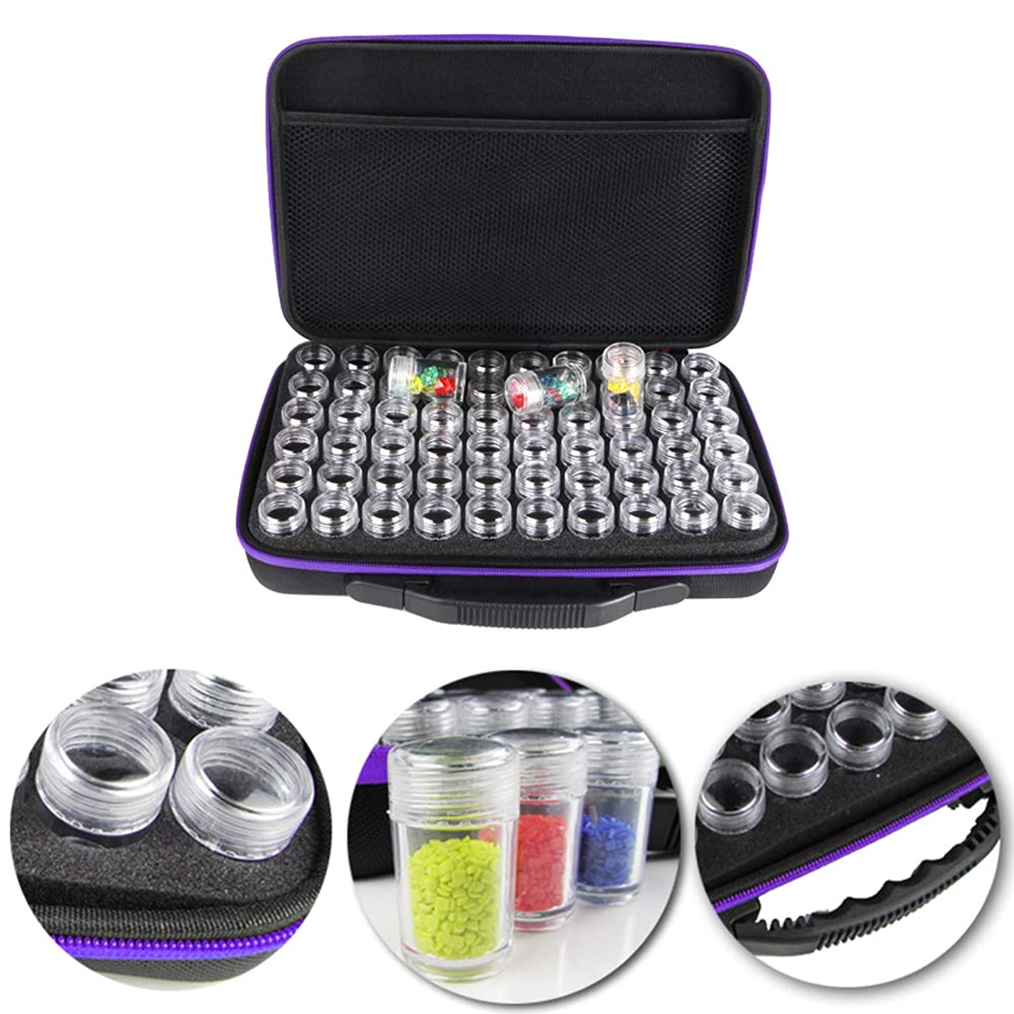 Wending Diamond Painting Storage Case Tool Diamond Painting Beads Organizer Accessories 60 Grids Shockproof and Durable High Capacity (Purple)