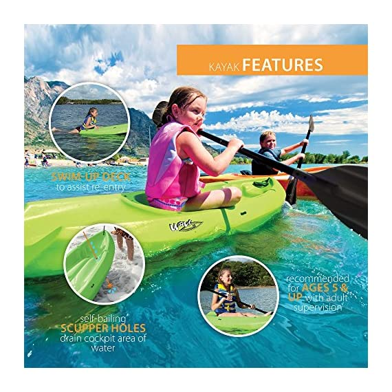 Lifetime Youth Wave Kayak with Paddle, 6 Feet, Green 6 Specifically designed for kids ages 5 and up; 130 LB weight capacity Lightweight 18 Lb. design with molded finger handles on each side for easy transport Sloped at the end with a swim-up step allowing rider to easily re-enter the kayak from the water