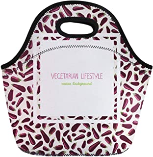 Semtomn Lunch Bags Tasty Eggplants Text Bright Vegan in Contrast Colors Ripe Neoprene Lunch Bag Lunchbox Tote Bag Portable Picnic Bag Cooler Bag