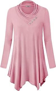 Womens Long Sleeve Cowl Neck Asymmetrical Hemline Flowy Tunic Top