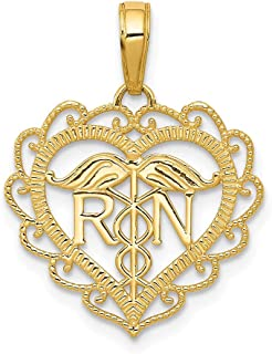 14k Yellow Gold Caduceus Angel Nursing Rn Registered Nurse Heart Pendant Charm Necklace Career Professional Medical Fine Jewelry Gifts For Women For Her