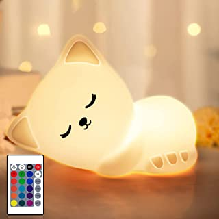 Night Light for Kids, Cute Cat Nightlight Baby Nursery Night Light , LED Silicone Touch/Remote Night Lamp, Rechargeable Sl...
