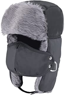 0ad58d35fc407 Prooral Unisex Winter Trooper Trapper Hat Hunting Hat Ushanka Ear Flap Chin  Strap and Windproof Mask