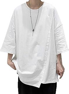 メンズ シャツ tシャツ ロングtシャツ 半袖 カットソー 無地 フロント デザイン アシンメトリー トップス おおきいサイズ おしゃれ 黒シャツ 黒tシャツ