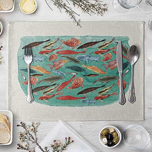 AMDXD Juego de 4 Manteles Individuales, Peces en el Acuario Tapete para Mesa de Cocina, Algodon Lino, 42x32cm, Verde Rojo Marrón