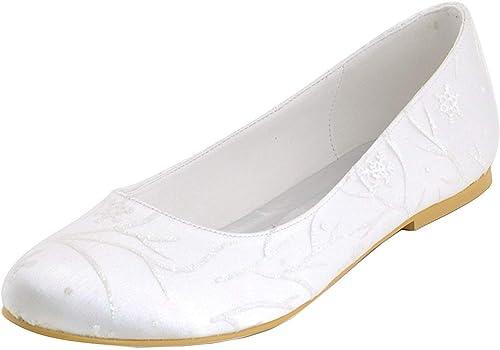 ZHRUI Ballerines de mariée en Satin Floral pour Femmes avec avec des Chaussures de soirée Confortables (Couleuré   Ivory-1cm Heel, Taille   7.5 UK)
