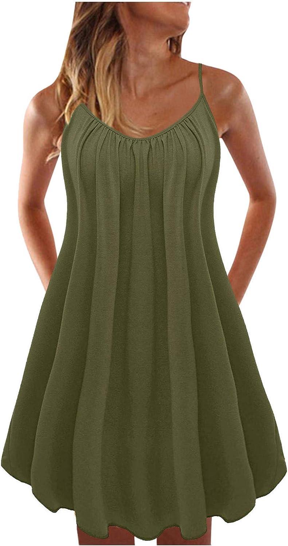 Oiumov Summer Dresses for Women, Womens Sleeveless Loose Tunic Sling Mini Dress Casual Beach Sundress Loose Boho Dress