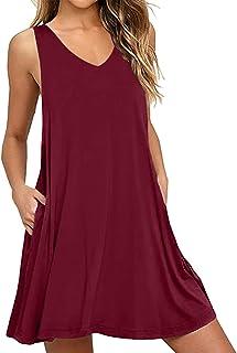 CNFIO Donna Vestito Casuale Abito Manica Lunga/Corta Stampa Leopardo Rotondo Collo Vestiti Mini Dress