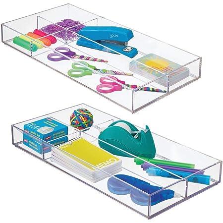 mDesign organiseur de bureau – rangement bureau moderne pour tiroir – boite de rangement cuisine pratique pour ustensiles variés – transparent