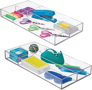 mDesign organiseur de bureau – rangement bureau moderne pour tiroir – boite de rangement cuisine pratique pour ustensiles ...