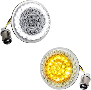 NTHREEAUTO LED Lights Bullet Style Turn Signal Front 1157 Pannel Compatible with Harley Dyna, Sportster