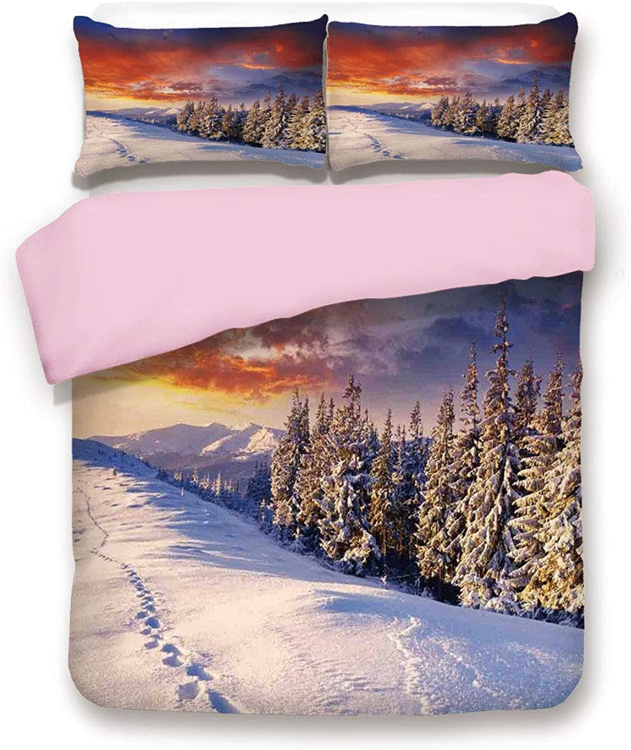 IPrint Pink Duvet Cover Set,Twin Size,Epic Cloudy Sky Over Majestic Mountains and Footsteps on Valley Decor,Decorative 3 Piece Bedding Set with 2 Pillow Sham,Best Gift for Girls Women,orange White