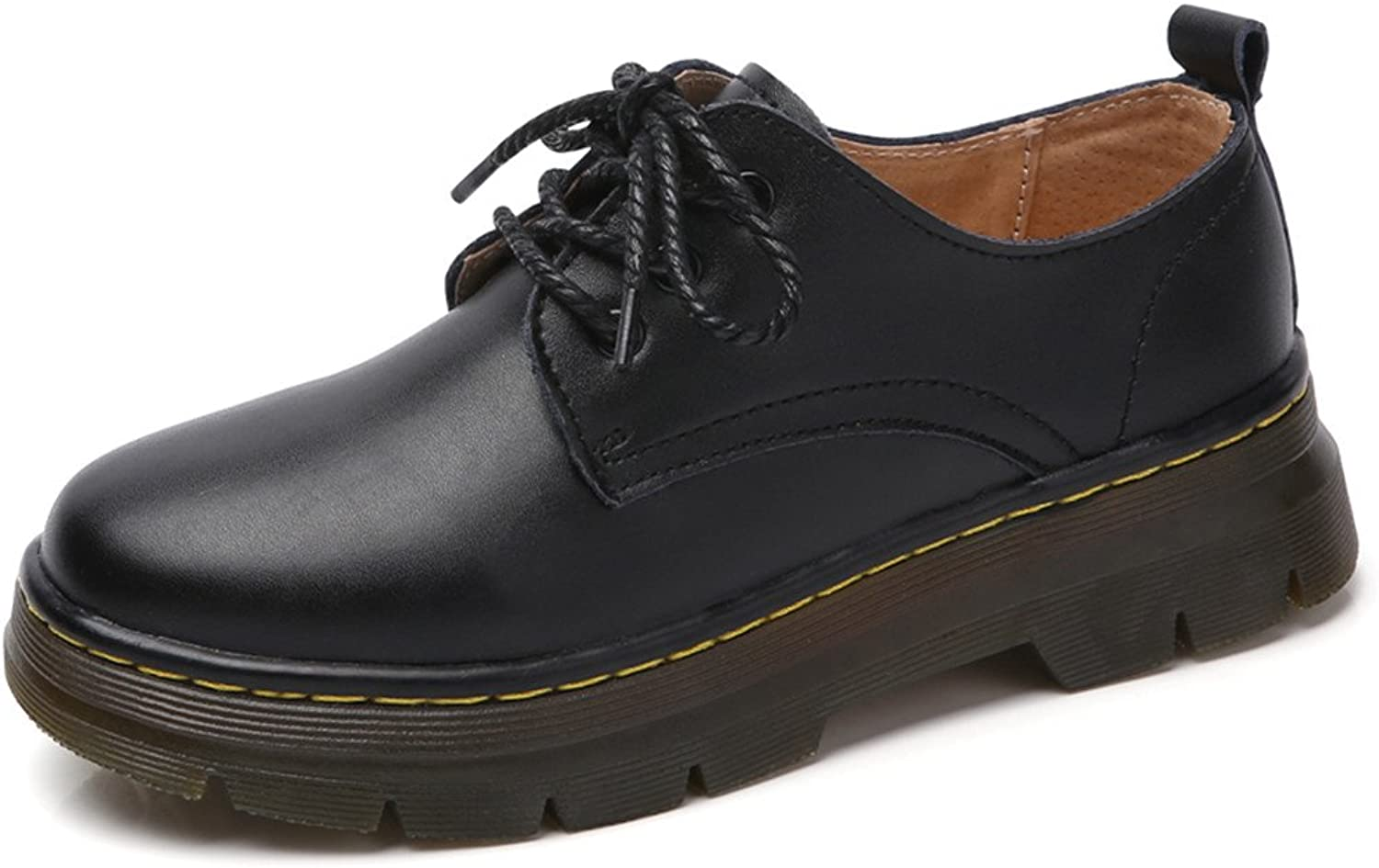 XDX Taste Of Life Black Leather Women's Flat Vintage Oxfords shoes Brogues Lace-up Patent