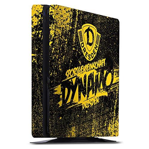 Skin kompatibel mit Sony Playstation 4 PS4 Slim Folie Sticker Offizielles Lizenzprodukt Fußball SG Dynamo Dresden
