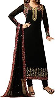 Ethnic Empire Women's Georgette Semi Stitch Salwar Suit (Ethnic_ER107100_Black_Free Size)