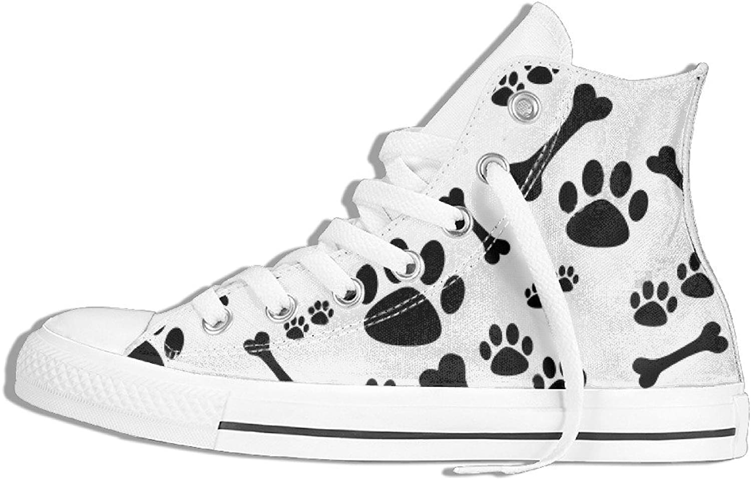 Efbj Cute Paw Unisex Comfortable High Top Flat Canvas shoes for Men and Women