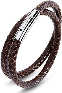 Reizteko Braided Leather Bracelets for Men Women Bangle Bracelets Magnetic Clasp Wristband 7.5-8.5 Inch (I: 1 pcs(Brown) ...