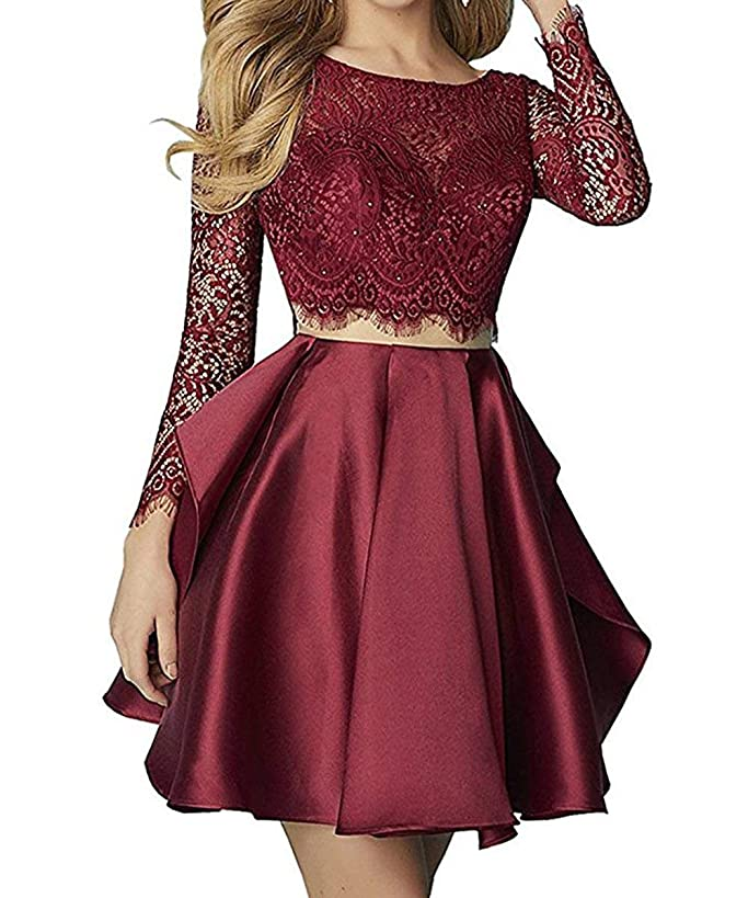 Sweetdress Women's Two Pieces Long Sleeve Lace Homecoming Dresses Backless Short Prom Dress