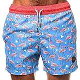 水着 メンズ 海パンツ ビーチパンツ 弾力 サーフパンツ 水泳パンツ ゆったり ミドル丈 ショートパンツ 7631 (ブルー, L)