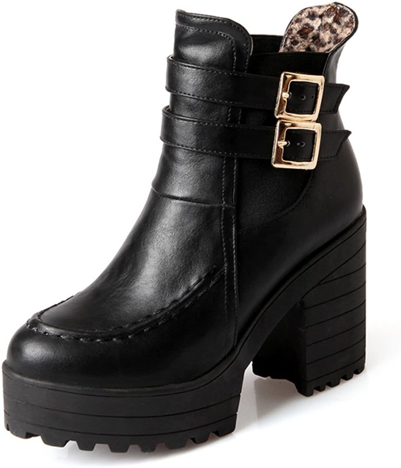 RHFDVGDS belt buckle boot in autumn and winter Platform chunky heels high heels short boots fashion Lady boots