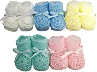 Knitted Crochet Booties - Newborn Size - Baby Goods Assorted Colors 12 Pairs Pack (00215AC Z)