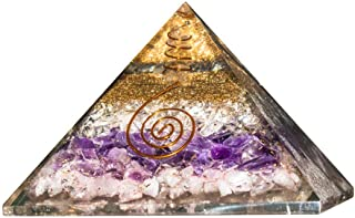 Crocon Rose & Clear Quartz Amethyst Orgone Pyramid with Crystal Point for Energy Generator Chakra Balancing Reiki Healing Spiritual Meditation EMF Protection Spiritual Home Decor Size: 3-3.5 Inch