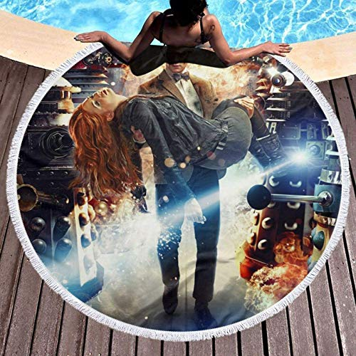 Meili TV Show Do-ct-or W-ho Beach Towel Round Oversized Soft Comfortable Qui Dry Throw Blanket Beach Towel Can Be Use On for Home Decoration