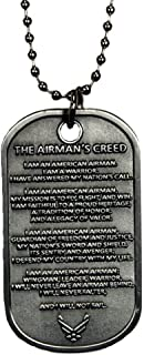 USAF U.S. Air Force The Airman's Creed Military Dog Tag with chain