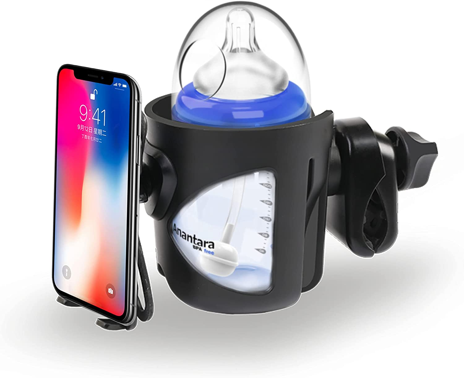 O-Warebaby Stroller Cup Holder, Stroller Cup and Phone Holder 2 in 1 Universal Cup Holder Bike Bottle Holder 360 Degrees Rotation Large Caliber Designed Fit for Baby Stroller Bicycle Trolleys and More