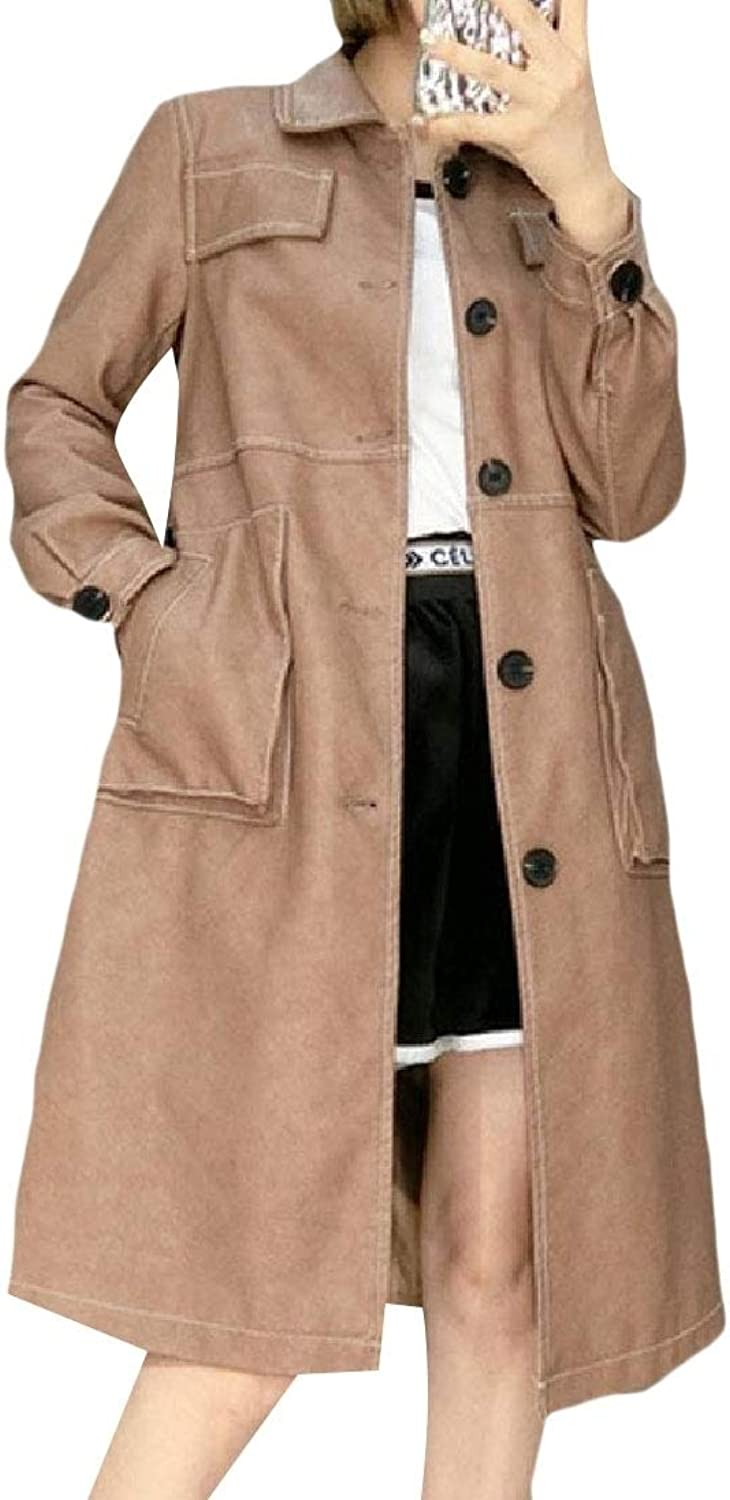 Winme Womens FauxLeather Windbreaker Slim Fit Waist Topcoat