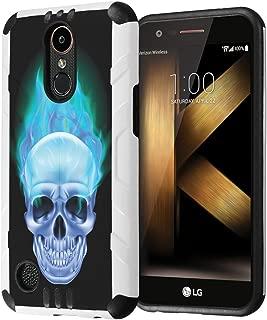 LG K20Plus / LG K20V Case, LG Harmony Case, LG Grace LTE Case, Capsule-Case Hybrid Dual Layer Slim Defender Armor Combat Case for LG K20 Plus / K20 V/Harmony/Grace- (Blue Flame Skull)