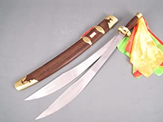 Chinese Sword,Wushu Double Sword(Spring Steel Blade,Rosewood Scabbard,Brass Fitted) Length 38