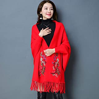 Women Long Tassel Embroidered Scarf Thick Warm Cape Cloak Shawl Coat Oversized Wrap Shawl Scarves, Imitation Mink Velvet, ...