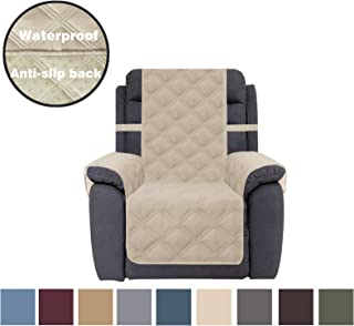 CHHKON Sofa Cover Waterproof with Anti-Skip Dog Paw Print 100% Quilted Furniture Protector Sofa Slipcover for Children, Pets for Leather Couch (Beige, Recliner)