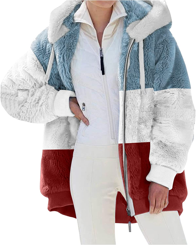 Women Faux Fur Winter Warm Coat Zip Up Jacket Hoodie Stripe Prin