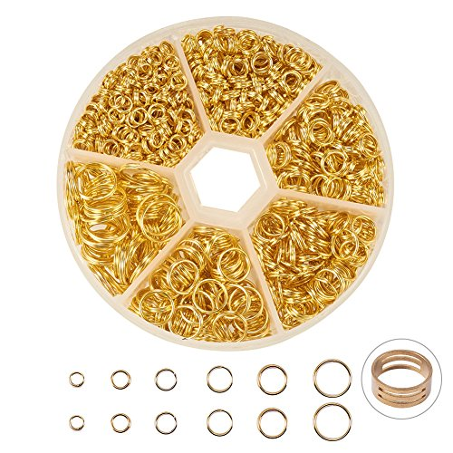 PandaHall Elite 1 Small Box Iron Double Jump Rings, 4 5 6 7 8 10mm Mixed Split Jump Ring, Nickel Free, Golden, 4-10x1-1.3mm
