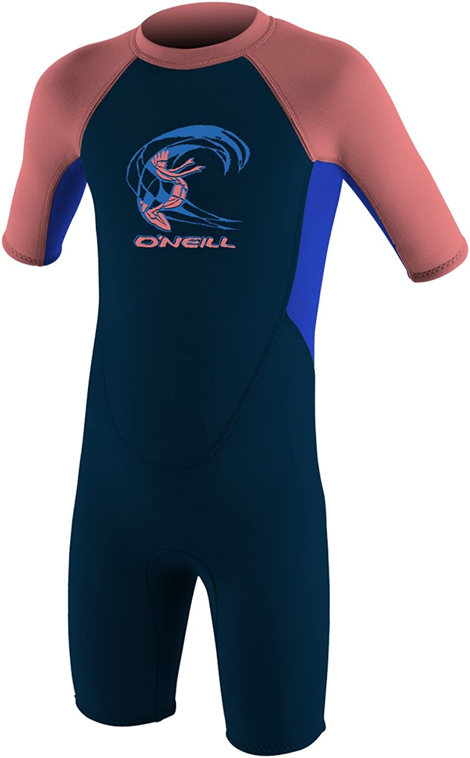 O'Neill Toddler Reactor2 2mm Back Zip Short Sleeve Spring Wetsuit, Slate blueee Coral, 2