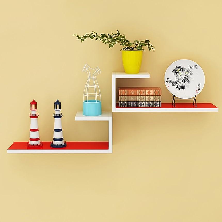 画面意外天気Djyyh 赤と白の木L字型シェルフ* 2(個)、装飾的な壁のベッドルーム居間の棚60 * 14 * 20センチメートル
