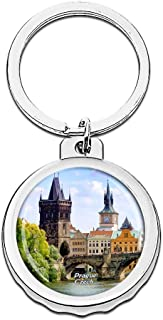 Hqiyaols Keychain Czech Charles Bridge Prague Bottle Opener Creative Crystal Stainless Steel Cap Key Chain Travel Souvenirs Gifts Metal