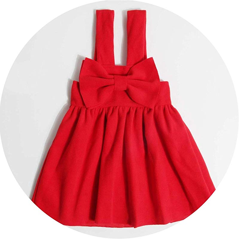 Christmas Girl Dresses Europe Style Winter Woolen Strap Kids Dress Bow Princess Costume Vestidos For Girls Clothes 2 6Y Red 2T