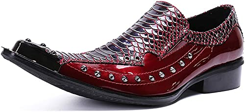 schuhe de Fiesta para Hombre Shining Rock Singer Casual Bar Dress For Formal, Negocio, Boda, Informal, Oficina, herren, schuhe de Cuero rot