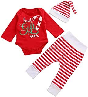 Vicbovo Christmas Newborn Baby Girl Boy Kids Outfits Romper Tops+Pants+Hat Clothes Set