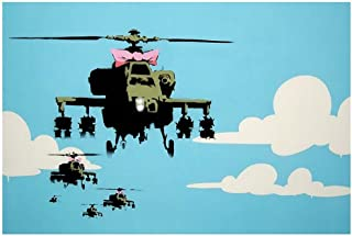 Alonline Art - Helicopter Apache by Banksy | print on high quality fine art photo paper poster (Rolled) | 36