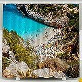 PPPPPRussell Shower Curtain Ganci per tende da doccia, Calo Des Moro Mallorca in una giornata di Sole Persone Sulla spiaggia Decorazioni impermeabili Bagno, 72X72 In, 183X183Cm