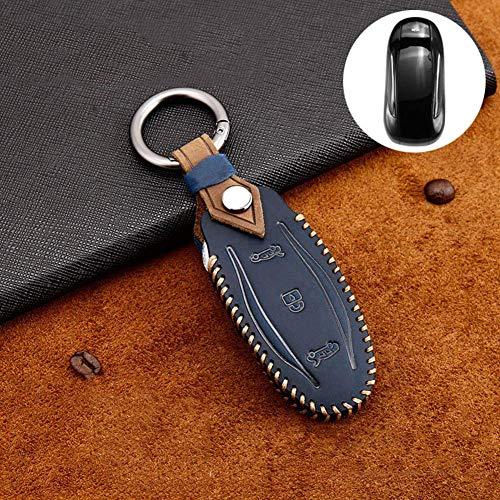 QWASDFG Autoschlüsseletuischlüsseletui Für Auto Schlüsseletui Schlüsselanhänger Tasche Kette Leder Schlüsselkartenhalter Schutzhülle, Für Tesla Modell 3 Modell S Modell X B-Blau