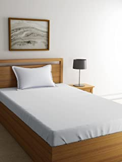 Shri Anand Creations Solid/Plain White Bedsheet for Single Bed with Pillow Cover - White