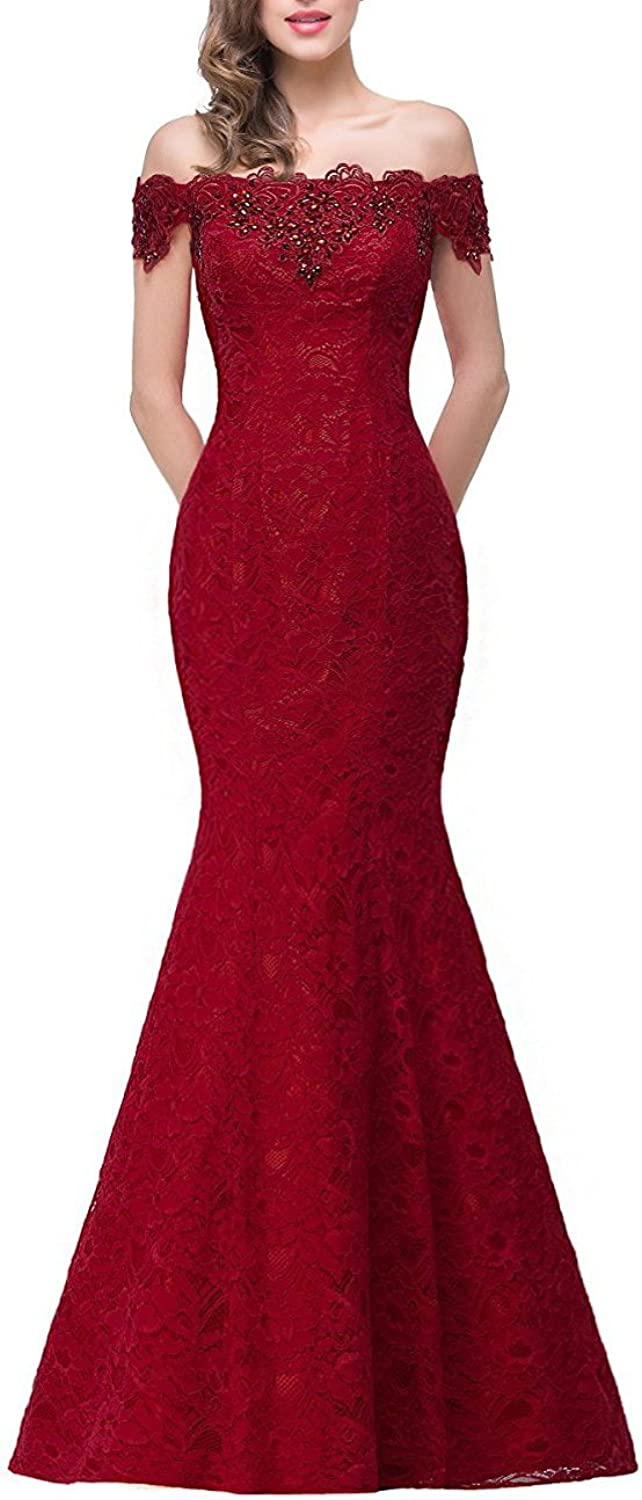 FTBY Mermaid Long Evening Dress for Womens Off Shoulder Formal Prom Dress Wedding Party Gowns Lace Appliques