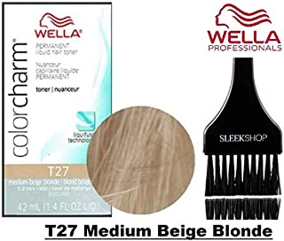 Wella COLOR CHARM Permanent LIQUID HAIR TONER (w/Sleek Tint Brush) Haircolor Liquifuse, 1:2 Mix Ratio Hair Color DYE (T27 Medium Beige Blonde.)