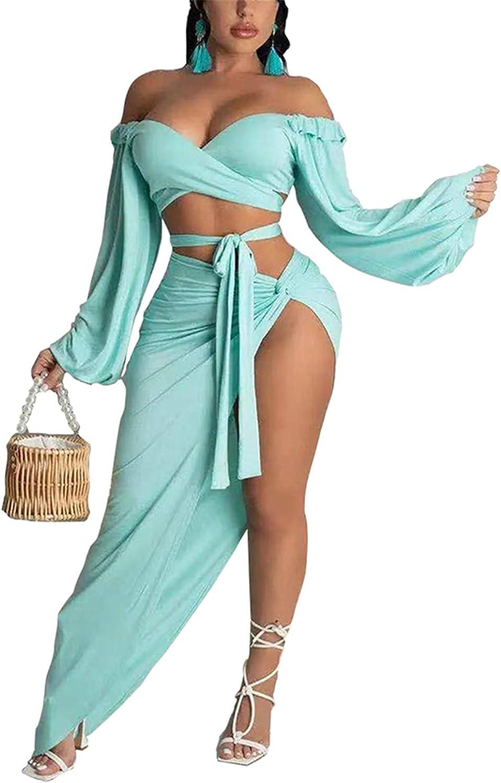 ArtistMixWay Women's Sexy Off Shoulder Bandeau Crop Top Side Slit Maxi Skirt 2 Piece Dress Set